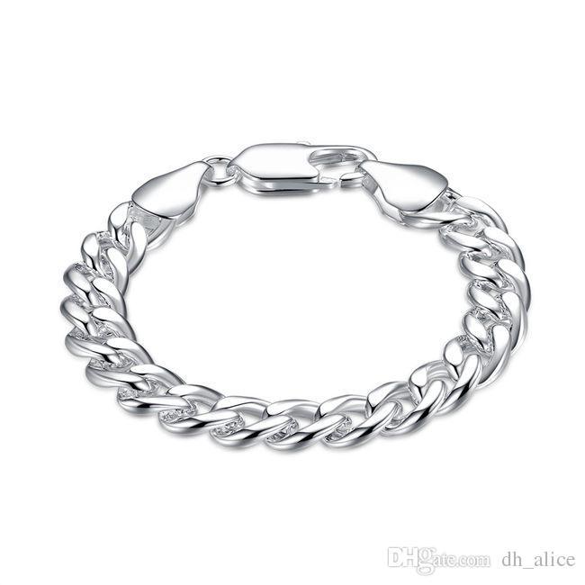 catena laterale 10M - gamberetti fibbia - maschio braccialetto placcato argento; I nuovi uomini e donne braccialetto in argento 925 SPB151 modo di arrivo