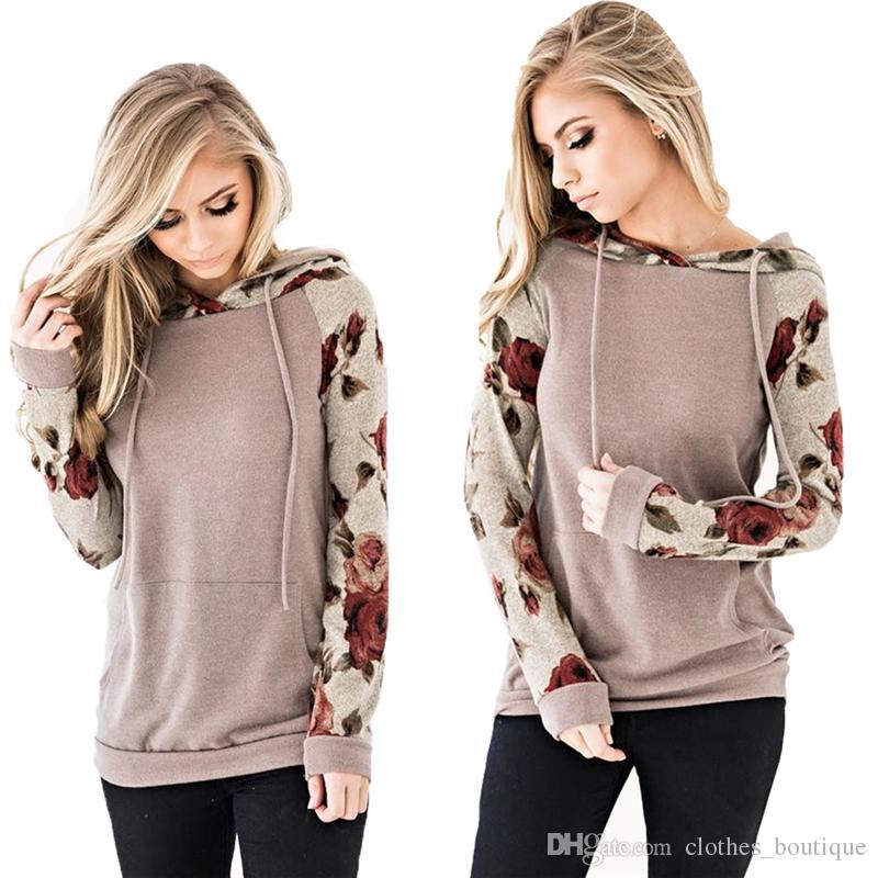 Для женщин Цветочные толстовки с длинным рукавом кулиской вскользь Comfy Толстовки Пуловеры Топы с Карманы Crew Neck рубашки осенью DHL S-3XL