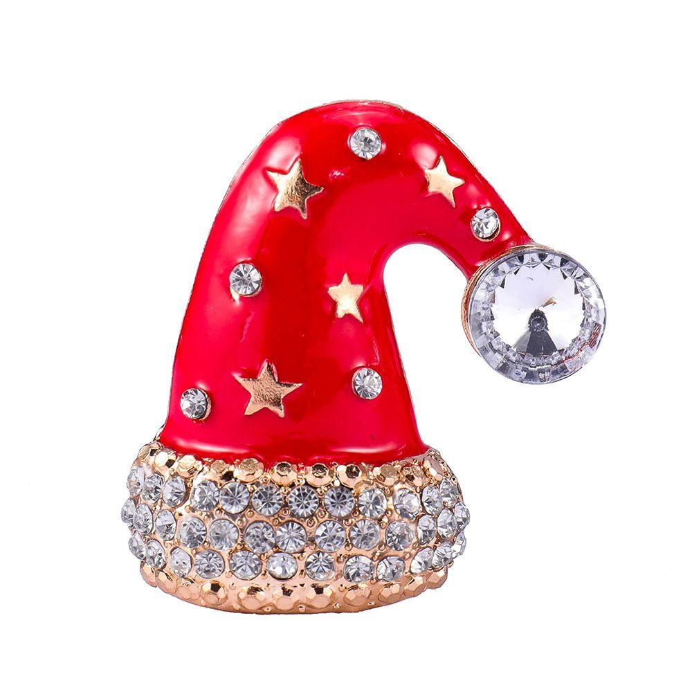 Sevimli Rhinestone Kırmızı Emaye Noel Kap Kadınlar Için Broş Pins Şapka Broşlar Kız XMAS Hediye Takı Lot 12 Adet
