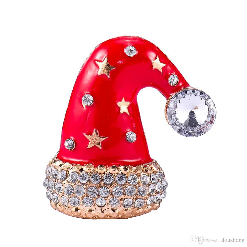 Mignon Strass Rouge Émail De Noël Cap Broche Broches Chapeau Broches Pour Les Femmes Fille XMAS Cadeau Bijoux Lot 12 Pcs