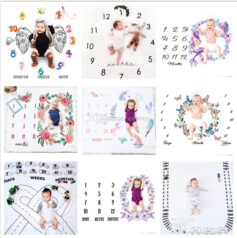 29 типов новорожденного Baby Milestone Одеяло фотографии фона реквизиты малыши фото фона детские писем цветочные одеяла BHBZ12