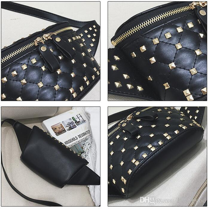 2018 new rivet fashionable female bag spring and summer new style rivet lingge breast bag personality street shot single shoulder bag