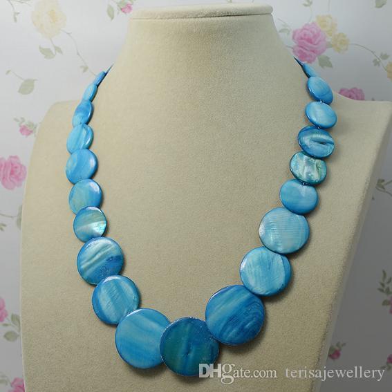 Monili del partito di nozze di colore blu rotonda di Shell naturale collana di modo Signora, la collana donna regalo nuovo di trasporto