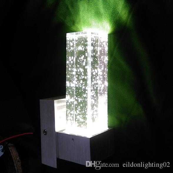 في الأماكن المغلقة LED اللون الجدار الخفيفة 3W AC85-265V 19CM كريستال + الألومنيوم مصابيح أبيض أصفر أحمر أخضر أزرق بنفسجي مباشرة من شنتشن مصنع الصين