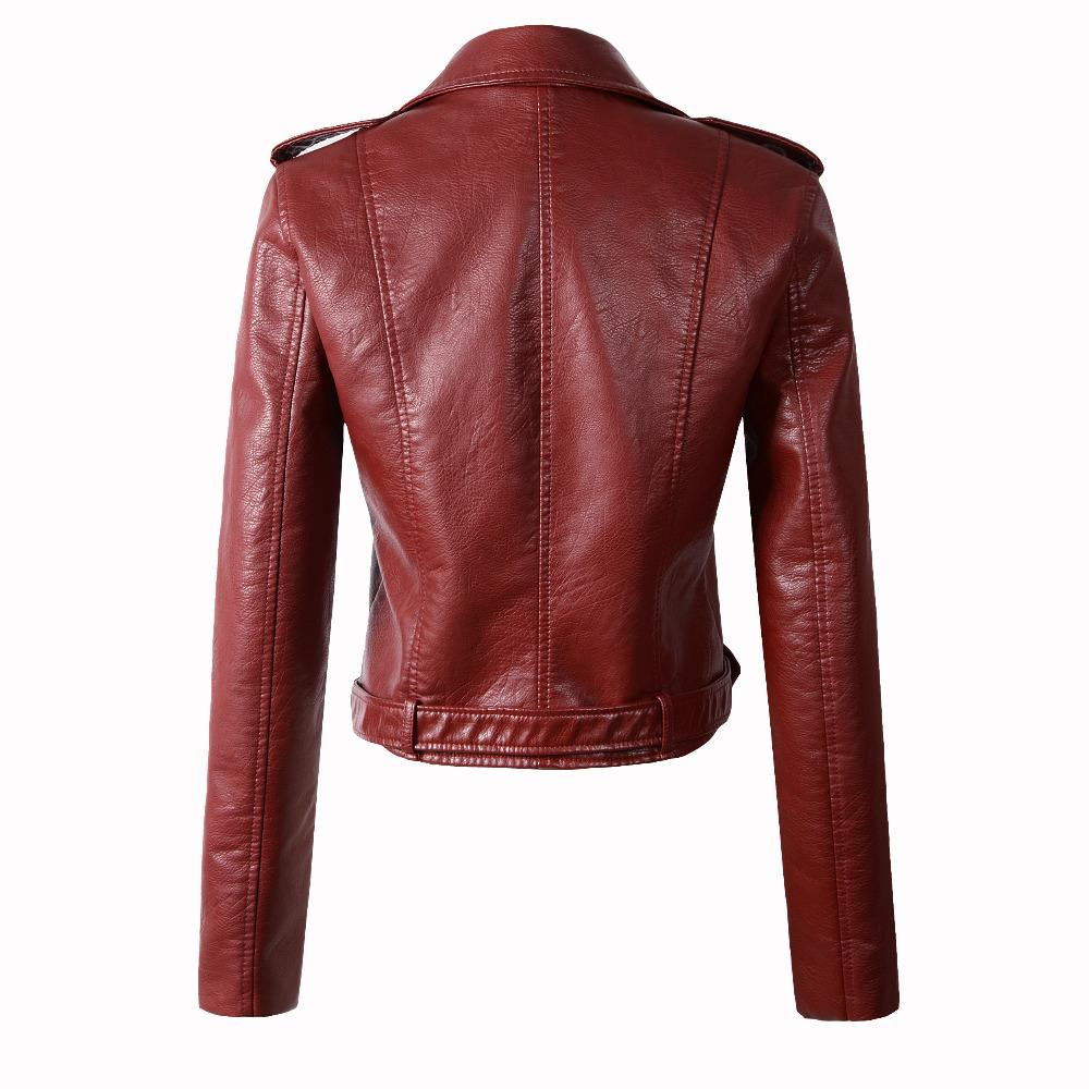 2018 New Fashion Women Autunm Winter Wine Red Faux Leather Jackets Lady Bomber Motorcycle Cool Outerwear Coat with Belt Hot Sale