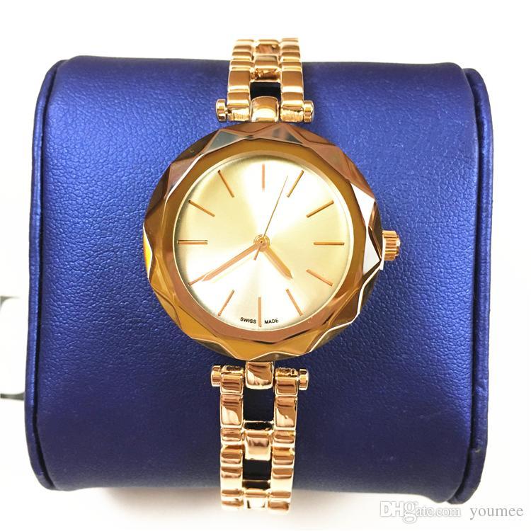 Novo relógio de moda para mulher designer de relógio de corte espelho dial aço pulseira de ouro rosa feminino relógio de presente de luxo para gilrs elegante
