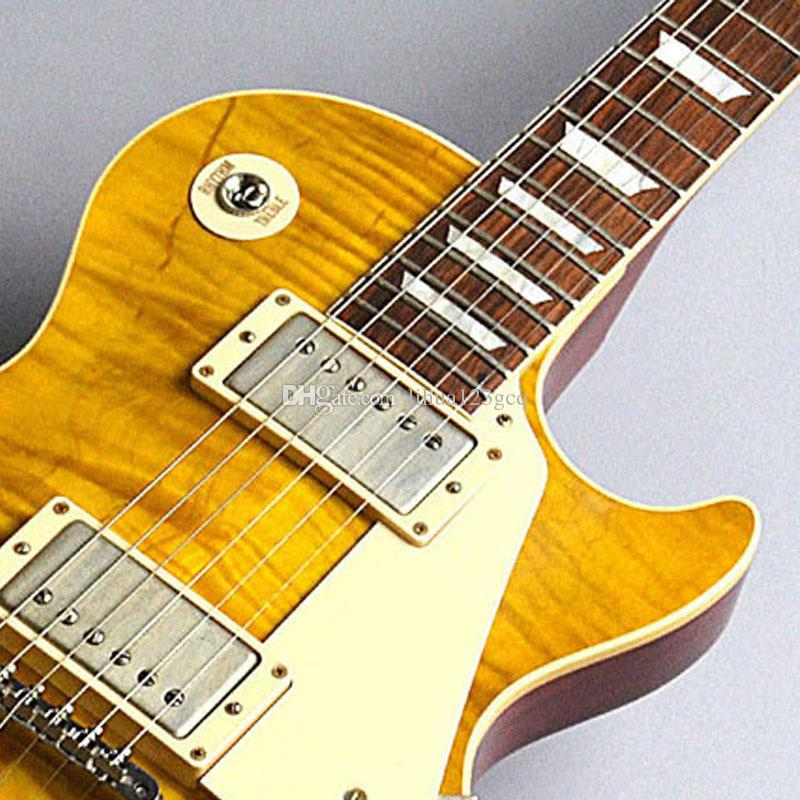 Free shipping / China guitars Custom Shop/Yellow wave pattern/Mahogany body/Rosewood Fingerboard / 6 string Electric Guitar/