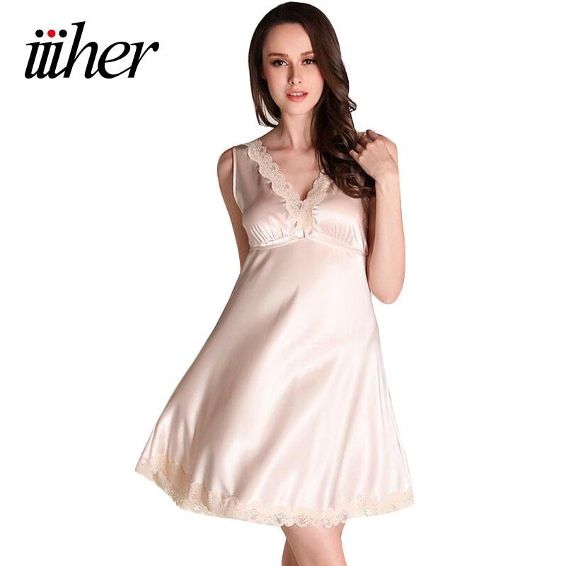 a3a66790a3 iiiher Sexy Stain Night Dress V Neck Lace Sleepwear Pijamas Mujer Bathrobe Nightgown  Women Nightwear Chemise