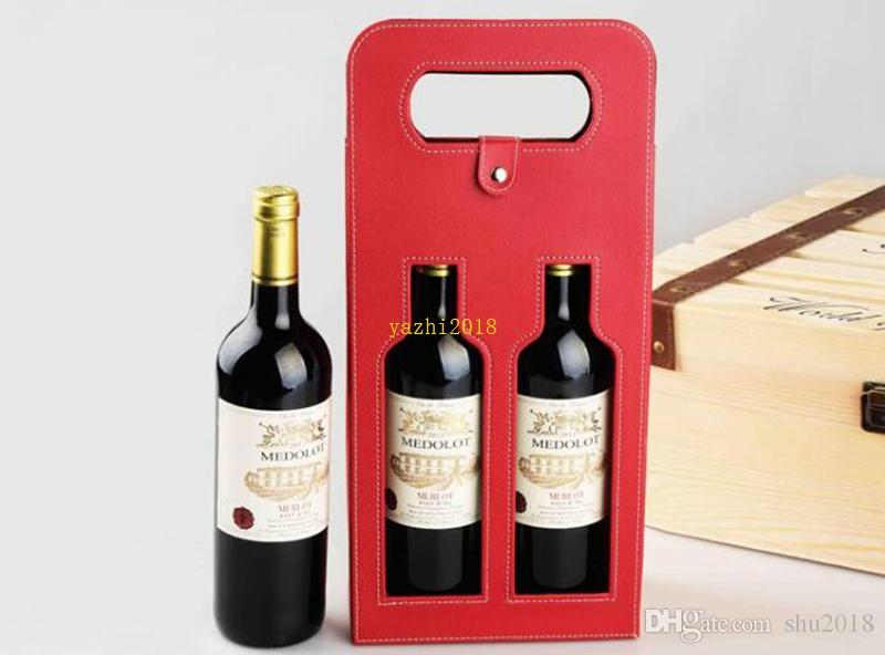 new Luxury Portable PU Leather Double Hollow-out Red Wine Bottle Tote Bag Packaging Case Gift Storage Boxes With Handle