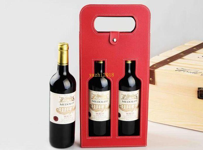 новый роскошный портативный искусственная кожа двойной выдалбливают красное вино бутылка сумка упаковка чехол подарочные коробки для хранения с ручкой