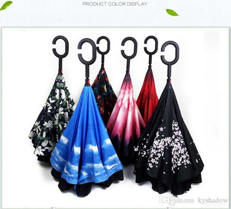 2018 Yaratıcı Ters Şemsiye Çift Katmanlı C Kolu Tersyüz Ters Ters Rüzgar Geçirmez Şemsiye 34 renkler DHL ücretsiz kargo