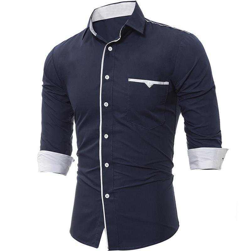 2020 Camisa de Masculina Masculina Tops Tops Classic Paño Paño Ribete Para Hombre Vestido Camisetas Slim Men Shirt XXXL
