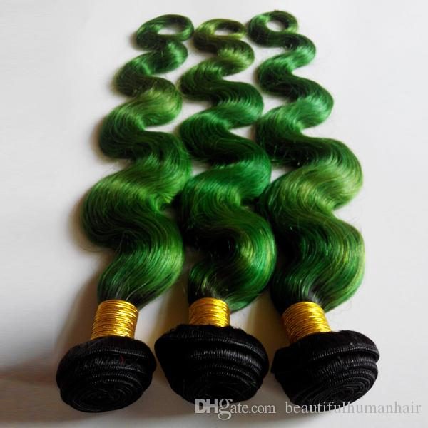 Tone Ombre Weaves Brazilian Body Wave Human Hair Weft 8-26inch New Star European Indian Hair Extensions 1B/green 3pcs No Shedding No Tangle
