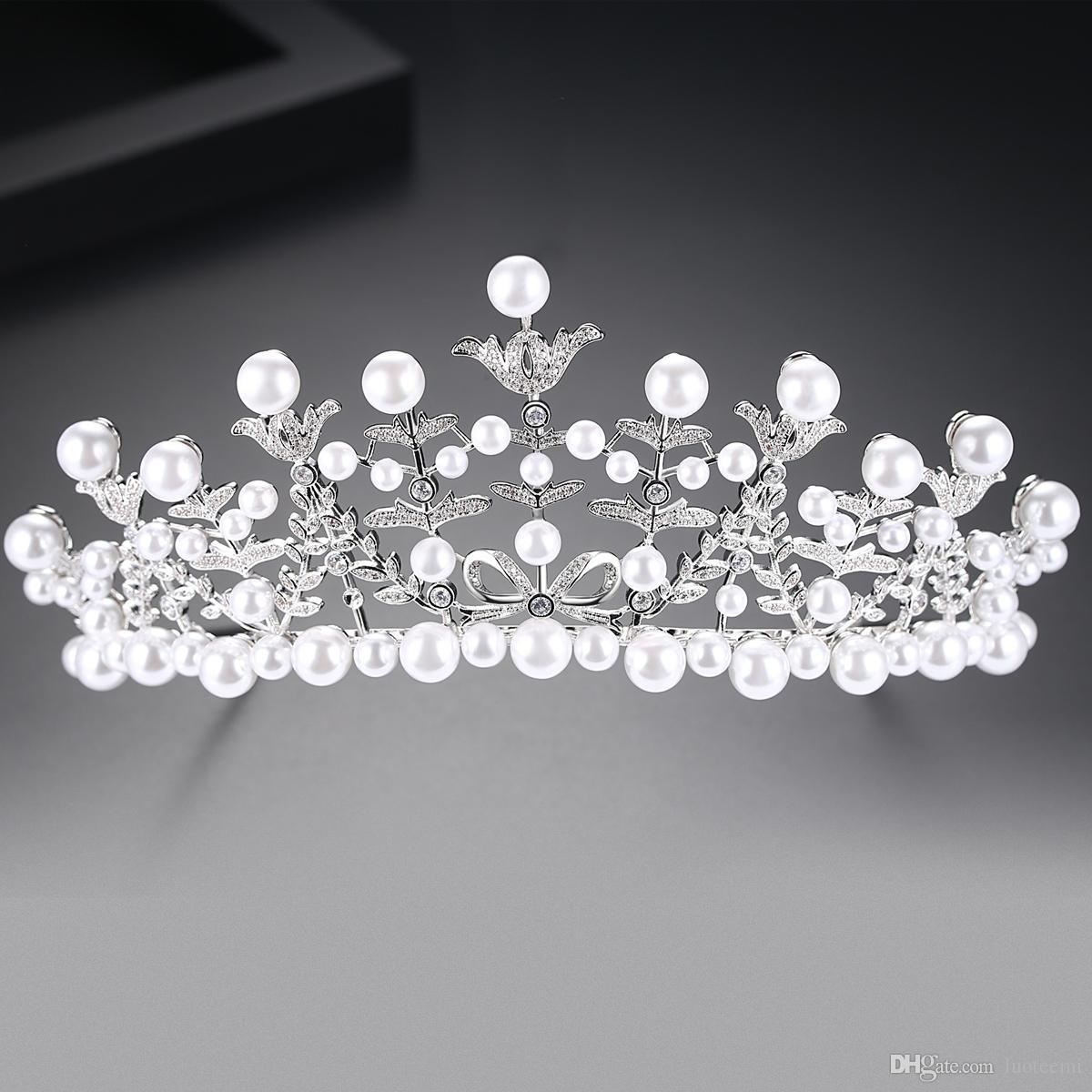 LUOTEEMI Perlas blancas de imitación Queen's Tiara Crowns Accesorios para el cabello para mujeres Clear CZ Crystal Diadema nupcial joyería de la boda