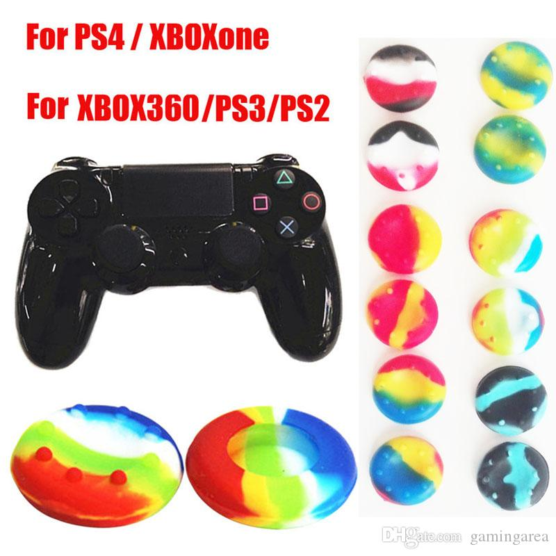 Camo Striped Multicolor Silicone Thumb Grip Grip Joystick Cap Case для PS5 Xbox One 360 PS4 PS3 контроллер CAMOUFLAGE THAYSTICK GRIPS COVER