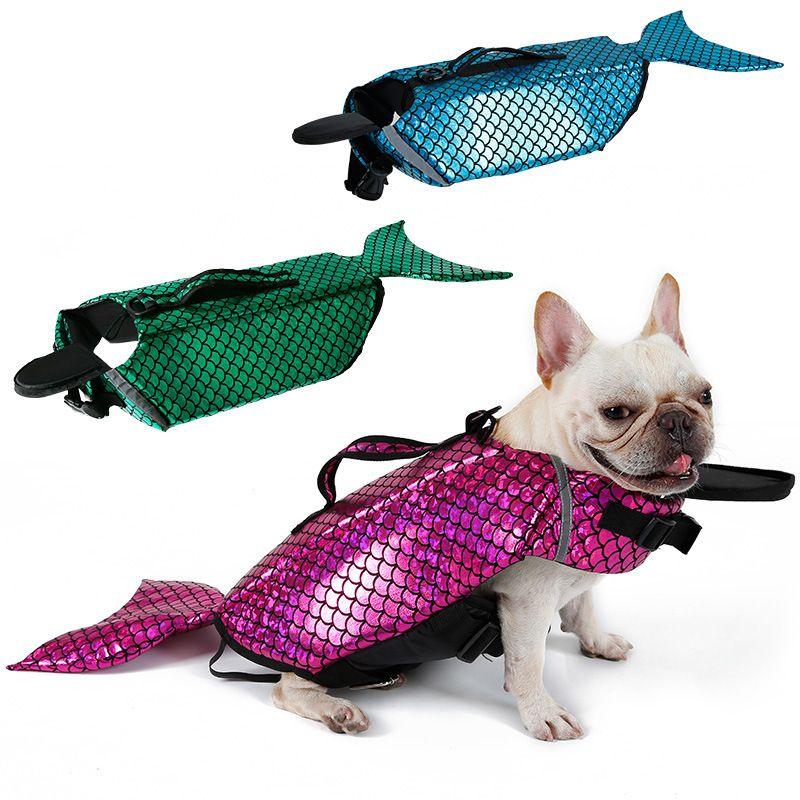 Jaqueta de Vida do cão Sereia Mar Empregada Doméstica Traje Pet Roupa de Natação À Prova de Água Nylon Poodle Cães Maiô 49ka4 ff