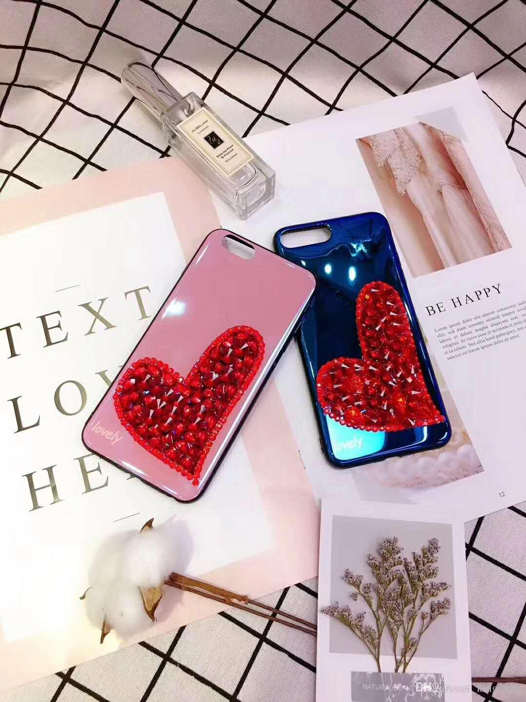 Fashion 3D Crystals Blue-ray Diamond Sparkle Jeweled Bling Heart Phone Cover Case for Apple iPhone 6 6S 7 8 Plus X