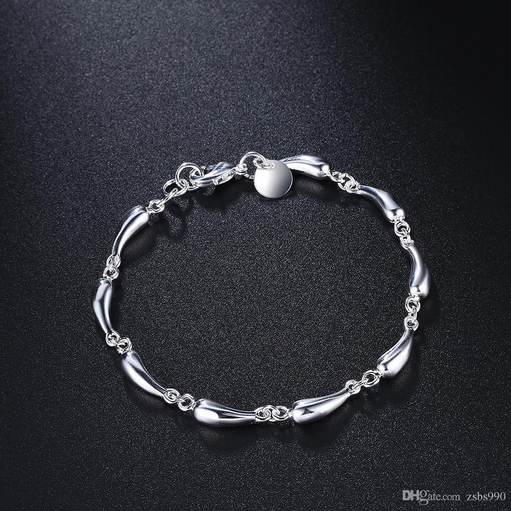 6mm 8 inch lange 925 verzilverd druppels ketting armband mode meisje sieraden gratis verzending 10st