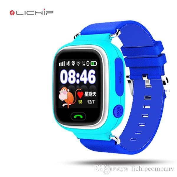 LICHIP bambini gps smart watch LQ90 bambini del bambino con wifi sim card gsm touch screen q90 orologio da polso telefono per i bambini