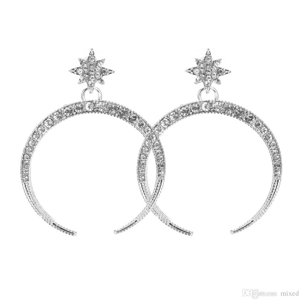 Большая роскошная Луна звезда Серьги Rhinestone мотаться Серьги для женщин Ювелирные Изделия Серьги 2018 Ювелирные Изделия