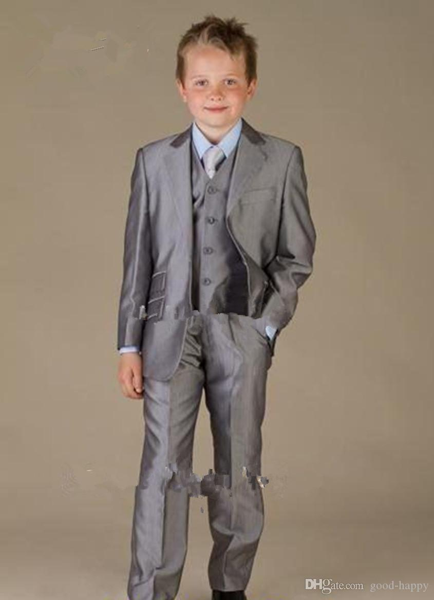 High Quality Shiny Silver Grey Boy Formal Wear Handsome Boy Kid Attire Wedding Wear Birthday Party Prom Suit(jacket+pants+tie+vest ) 29