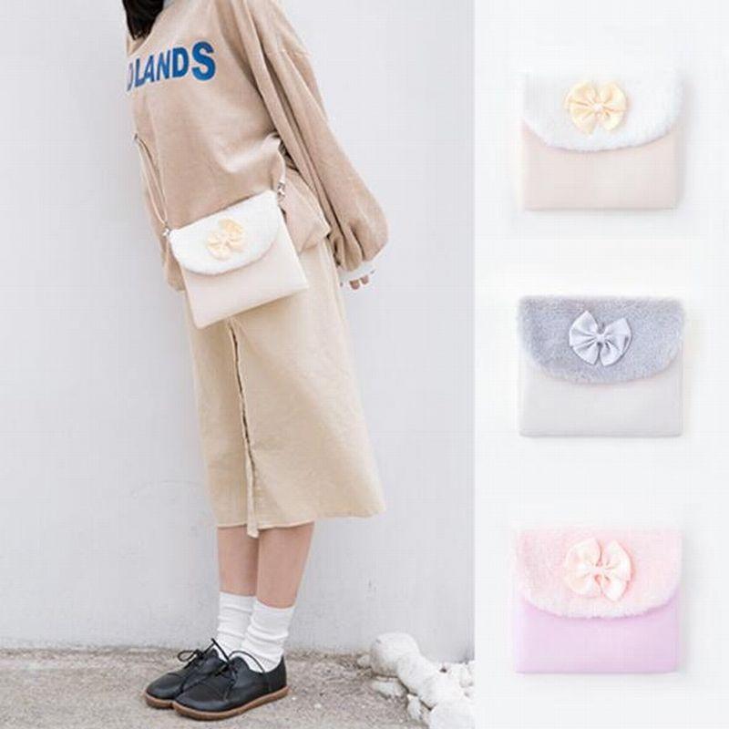 Bentoy Plush bow knot satchel flip girl, single shoulder bag, original lodging style lovely cross bag