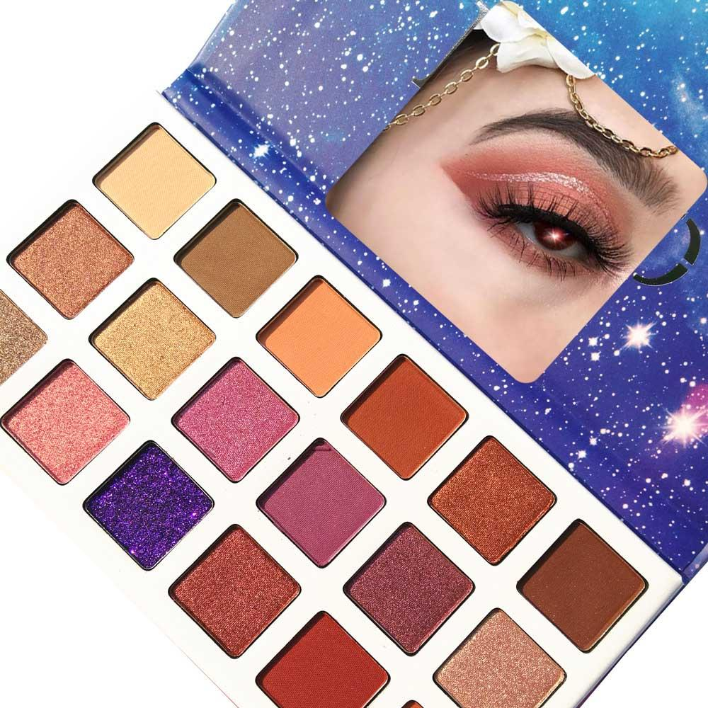 Hot Newest 2018 DGAFO Starry Sky 18 Color Eyeshadow Palette Smoky Shimmer and Matte Eye Shadows Gold Brown Purple Pink Eyes Makeup