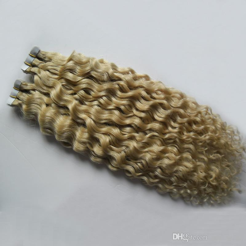 Blond Unprocessed Brazilian Curly hair Human Tape Hair Extensions 100g Apply Tape Adhesive Skin Weft Curly Tape Hair Extensions 40 pcs
