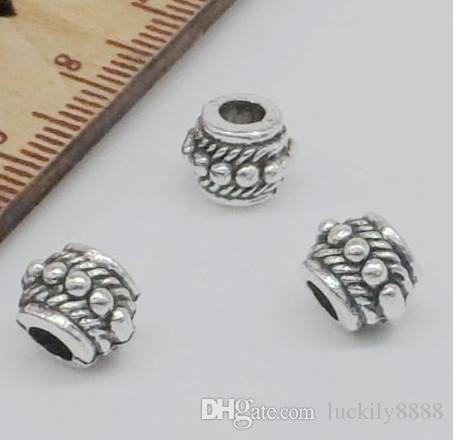 Free Ship 100Pcs Tibetan Silver alloy Big Hole Spacer Beads For Jewelry Making 8x6mm