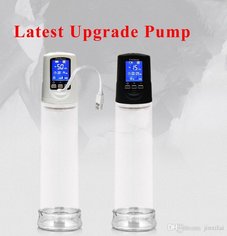 Pompa per pene elettrica con caricatore USB a cristalli liquidi USB, ingrandimento del pene automatico ricaricabile tramite USB