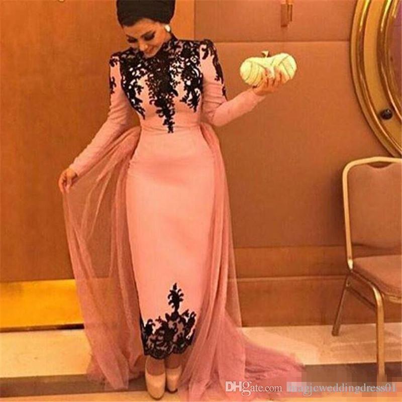 Blush Pink Mangas largas Camisas de graduación Vestidos de baile Arabia Saudita Cuello alto Vestidos de encaje Vestidos de noche Largo del tobillo Vaina Talla grande Vestido formal