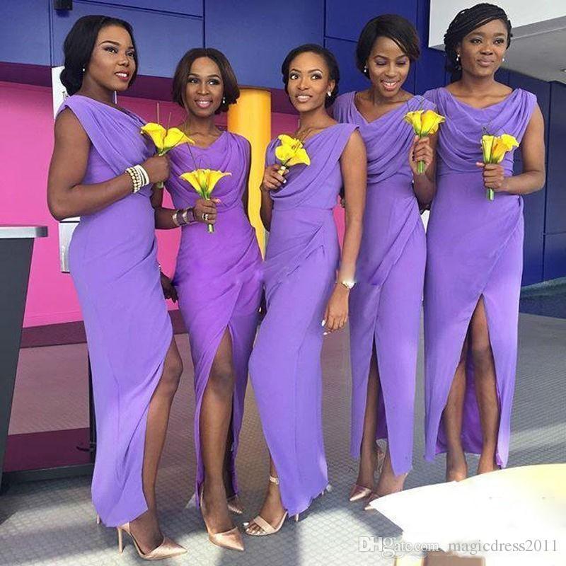 2019 라이트 퍼플 신부 들러리 드레스 프릴 분할 프론트 긴 들러리 가운 저렴한 아프리카 하녀 들러리 가운 민소매 공식 드레스