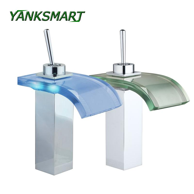 YANKSMART Waterfall LED Deck Mounted Bathroom Basin sink Tap Chrome W/ Glass Spout Mixer Tap Single handle Faucet