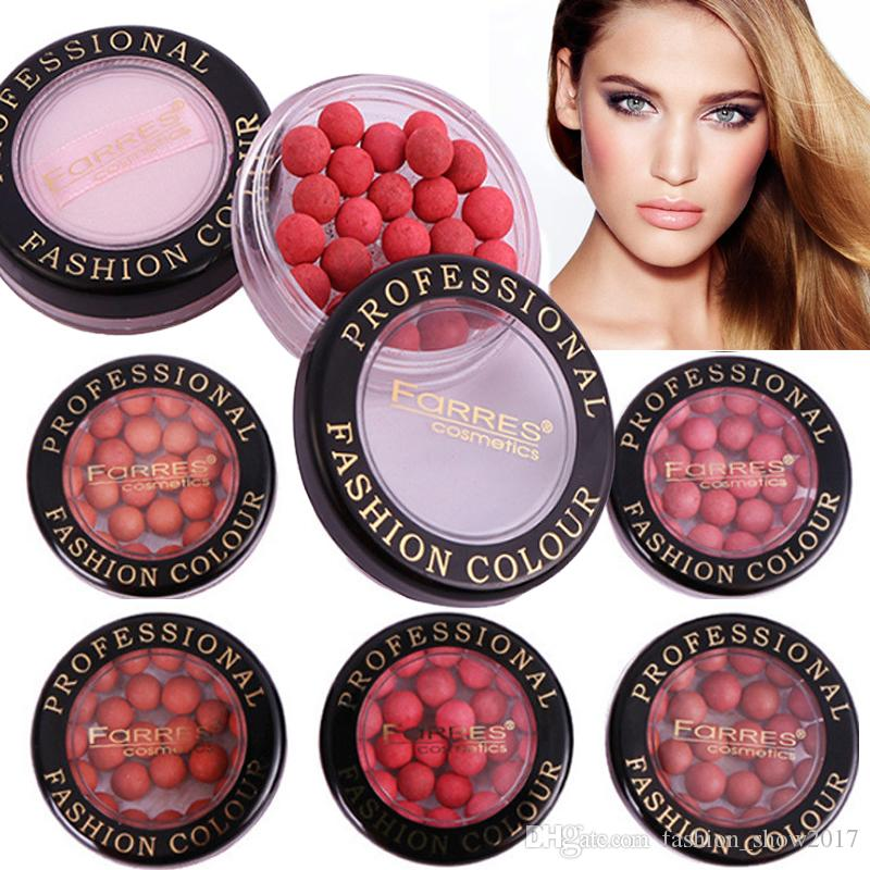 Farres Face Contouring Make-up Rouge Ball Wasserdichte Bronzer-Make-up-Pigmente Moisture Natural Coral Red Blush Palette