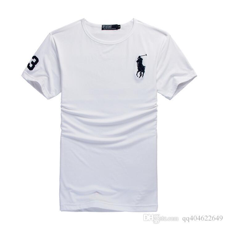 Grande cavallo Ricamo grande LOGO uomo T-shirt Fashion Brand Uomini Manica corta O collo T Shirt Uomo Casual 100% Cotone Maglietta Top Estate