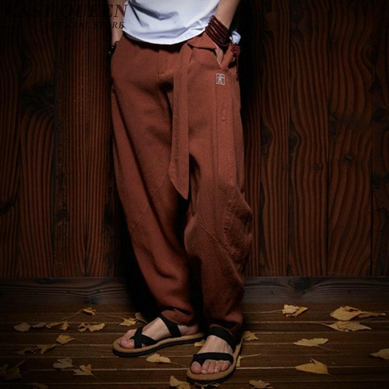Roupa tradicional chinesa para homens wushu roupas kung fu calças de linho calças masculinas chinesas asa chun AA956