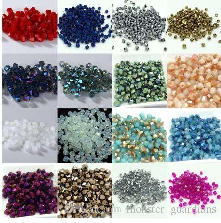 Sıcak ~~ 4mm 1000 adet / grup Bicone 5301 Avusturyalı kristaller boncuk Gevşek Spacer Boncuk DIY Takı Yapımı için U pick renkler