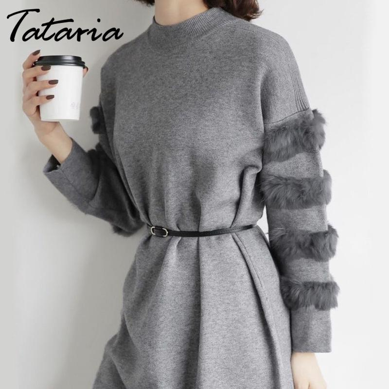Long Sweater Dress Women Loose Real Fur Pull Femme Women Sweaters And Pullovers Knitted Sweater Dresses For Winter