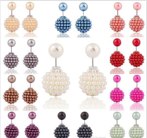 Pretty Earings for Woman Girls Brand New Korean Double Pearl beads clay Crystal Ball Brand New Fashion Two Ends Pearl Studs Earring