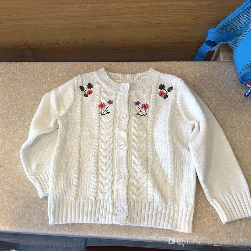 kids designer clothes girls white color girl Cardigan coat spring fall girl kids cardigan Sweater Flower Embroidery sweater 100% cotton
