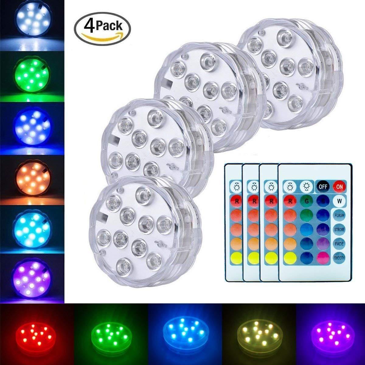 Luces LED sumergibles Luces puntuales a batería con lámparas pequeñas remotas Pescado