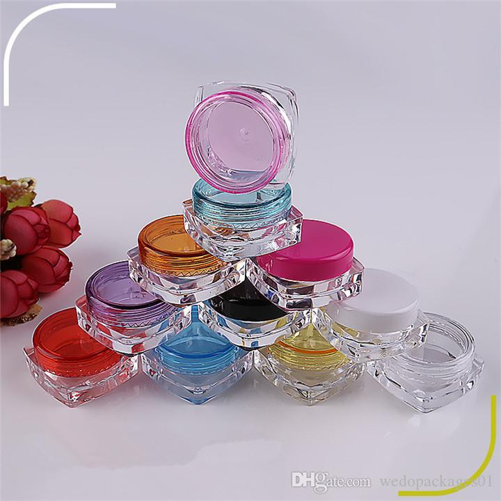 Square shape clear skin care cream plastic pot/jars 5g small sample sub package portable box container cheap price