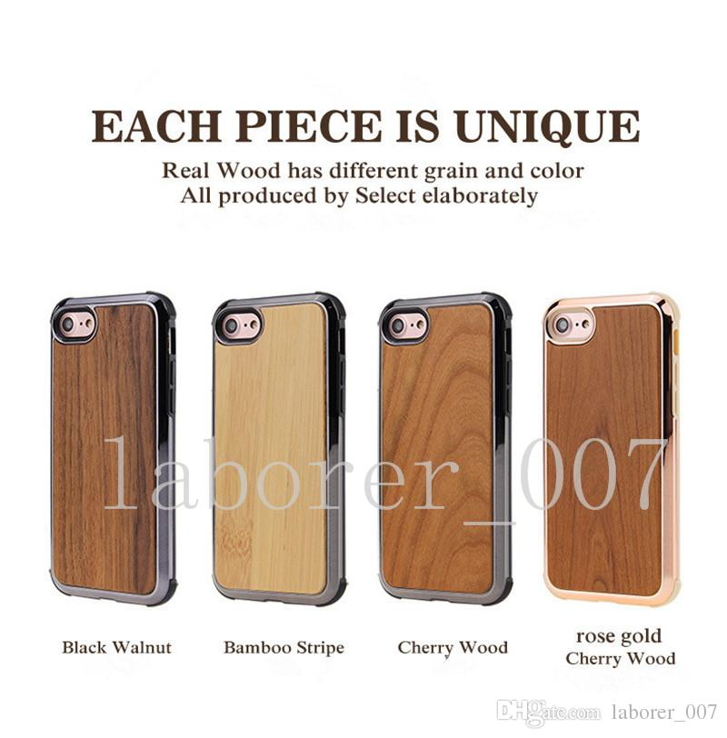 Prermium Quality Real Wood Phone Case For iPhone X, iPhone 8, 7 Samsung S9 Plus Nature Carved Wooden Bamboo Wood Slim Design