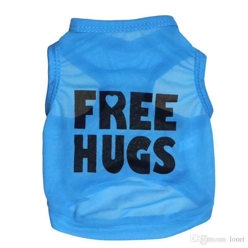 Pet Dog Clothes FREE HUGS Letter Print Blue Dog T Shirt Summer Pet Vest