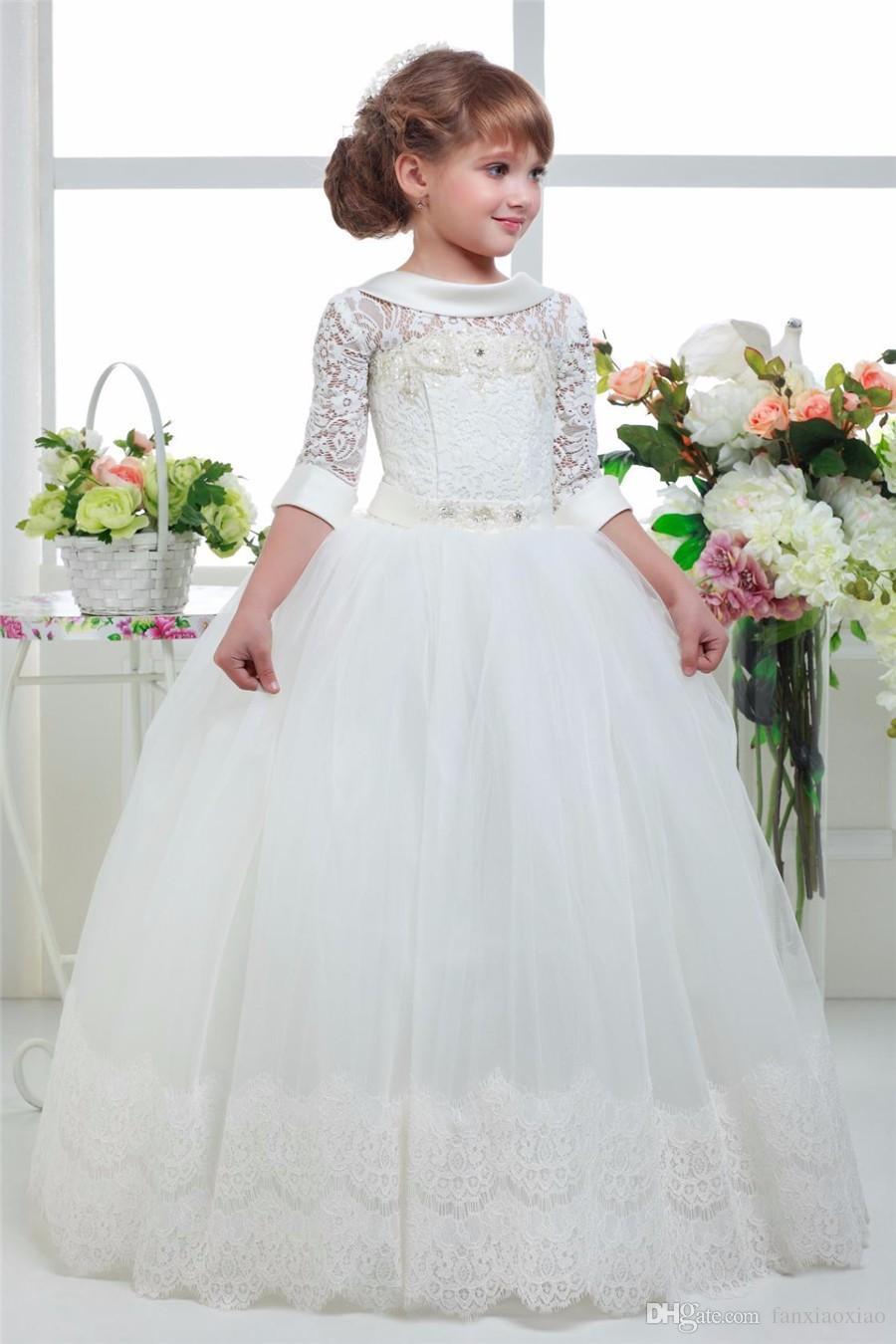 Compre 2018 Tres Cuartos De Manga Vestido De Ocasión Especial Niñas Vestidos Del Desfile Vestidos De Primera Comunión Vestidos Santos A 6331 Del