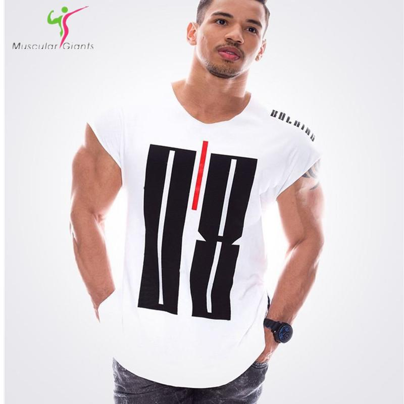 Tracksuit t shirt muscle shirt Trends in 2018 fitness cotton brand clothes for men Tee large XXL