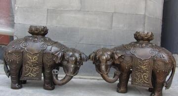 1 10 Chinese Folk Feng shui Bronze Lucky Fu Foo Lotus Flower Elephant Statue Pair