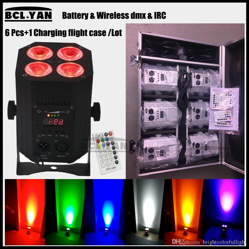 6 pack DMX Wireless Battery Powered LED Par Light RGBWA+UV 6in1 Color Led Wash Light DJ Lights Uplights IRC recmote Control