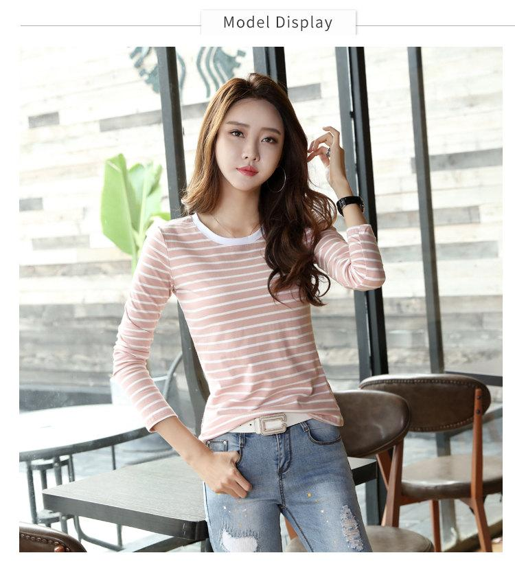 Autumn Winter Striped T-shirt Women Casual Plus Size Tops Tees Femme Long Sleeve Women Cotton Tshirt Camisetas Mujer 2019 (2)