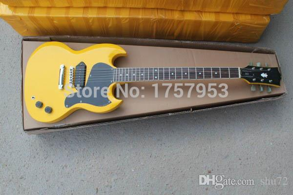 Fábrica custom shop 2015 Mais novo amarelo 1 pickups padrão S G Guitarra Elétrica Frete grátis (HAI 4